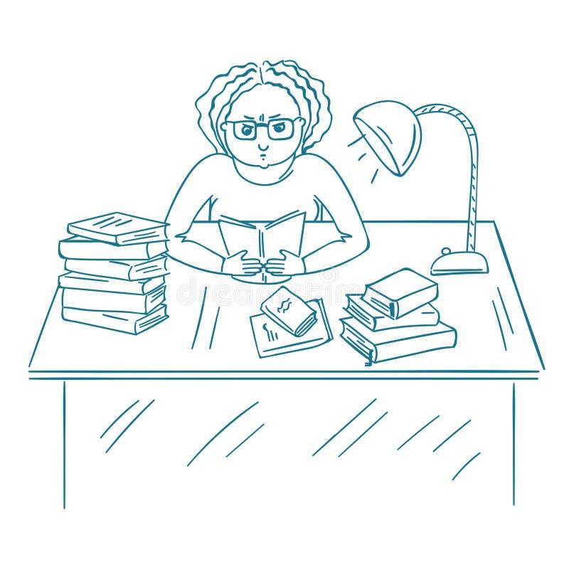 Młody gniewny studencki studiowanie z książkami Zanudzający żeńskiego ucznia studiowanie w bibliotece ilustracja wektor