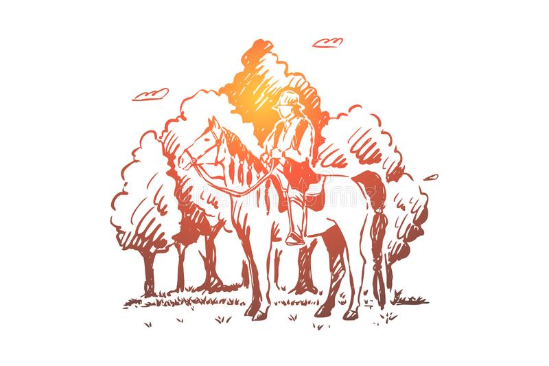 M?ody gypsy obsiadanie na horseback, Roma je?dziecki ko? w lesie, koczownik w comberze, wolny nar royalty ilustracja