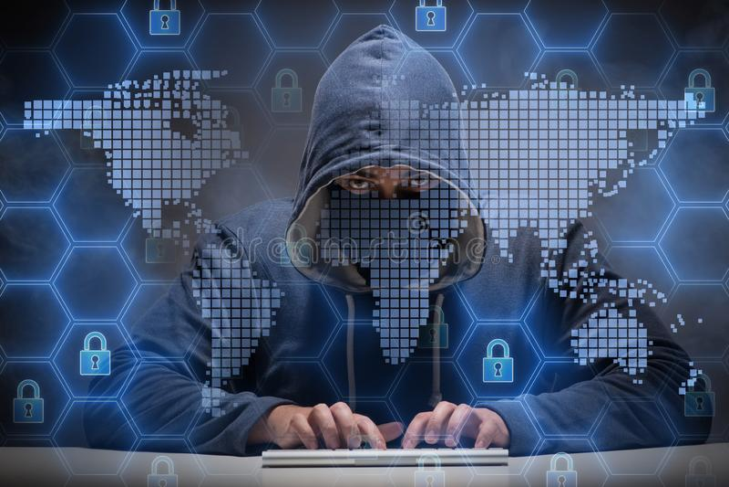 Młody hacker w cybersecurty pojęciu royalty ilustracja