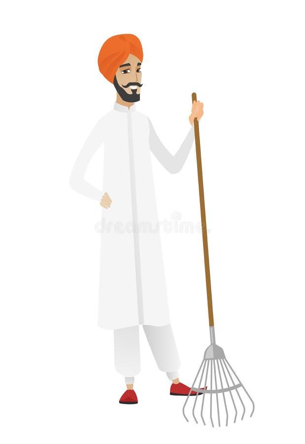 Młody hinduski średniorolny mienia ogrodnictwa świntuch royalty ilustracja