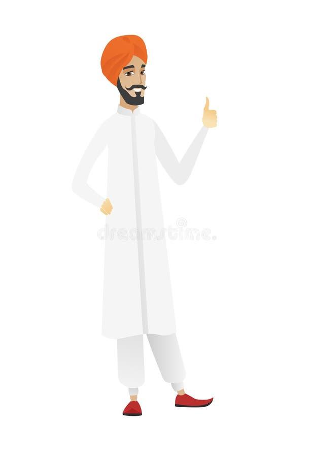 Młody hinduski biznesmen daje kciukowi up ilustracji