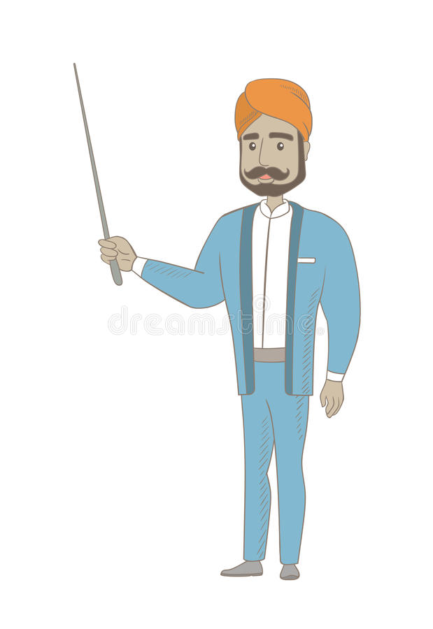 Młody hinduski biznesmen z pointerem royalty ilustracja