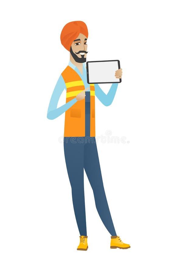 Młody hinduski budowniczego mienia pastylki komputer ilustracji