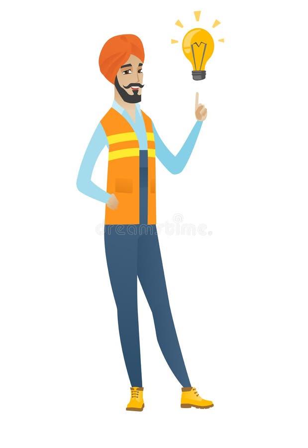 Młody hinduski budowniczy wskazuje przy żarówką royalty ilustracja