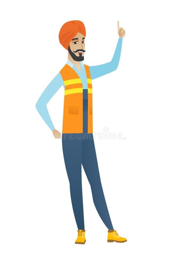 Młody hinduski budowniczy wskazuje z jego forefinger ilustracji