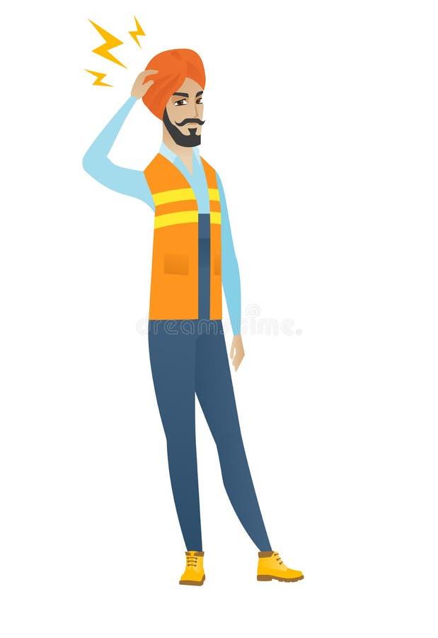 Młody hinduski budowniczy z błyskawicą nad jego głową royalty ilustracja