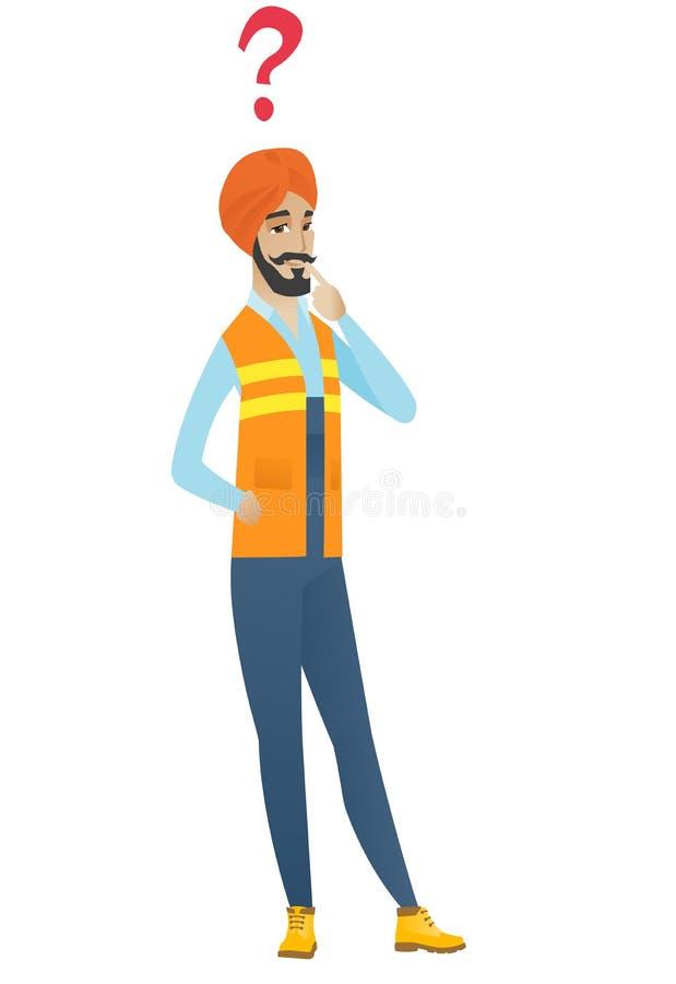 Młody hinduski budowniczy z znakiem zapytania royalty ilustracja