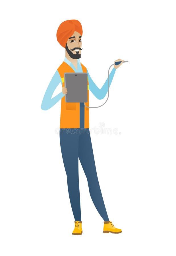Młody hinduski elektryk z elektrycznym wyposażeniem royalty ilustracja