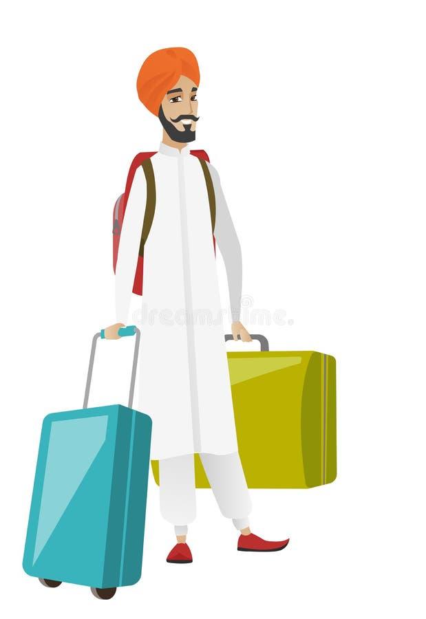 Młody hinduski mężczyzna podróżnik z wiele walizkami ilustracja wektor