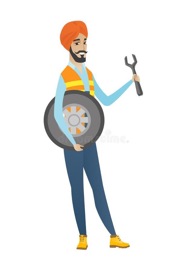 Młody hinduski mechanik z oponą i spanner ilustracja wektor