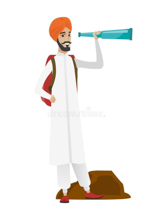 Młody hinduski podróżnik z spyglass ilustracja wektor