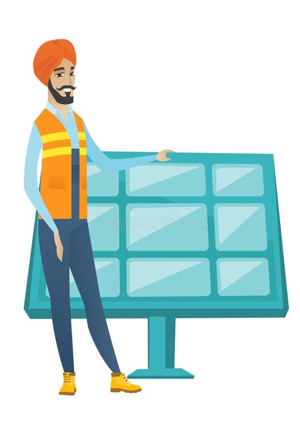 Młody hinduski pracownik energii słonecznej roślina ilustracji