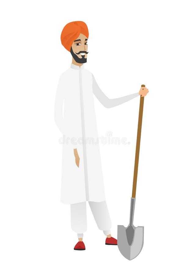 Młody hinduski rolnik trzyma łopatę ilustracji