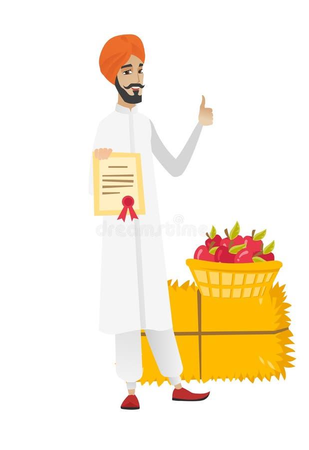 Młody hinduski rolnik trzyma świadectwo ilustracji