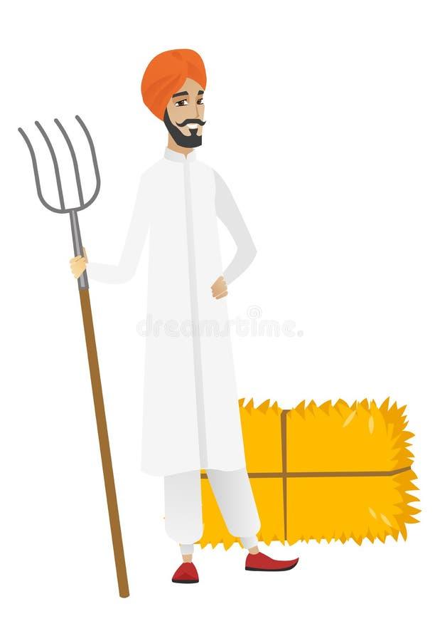 Młody hinduski rolnik trzyma pitchfork ilustracja wektor