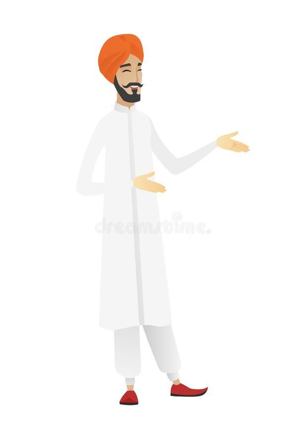 Młody hinduski szczęśliwy biznesmena gestykulować royalty ilustracja