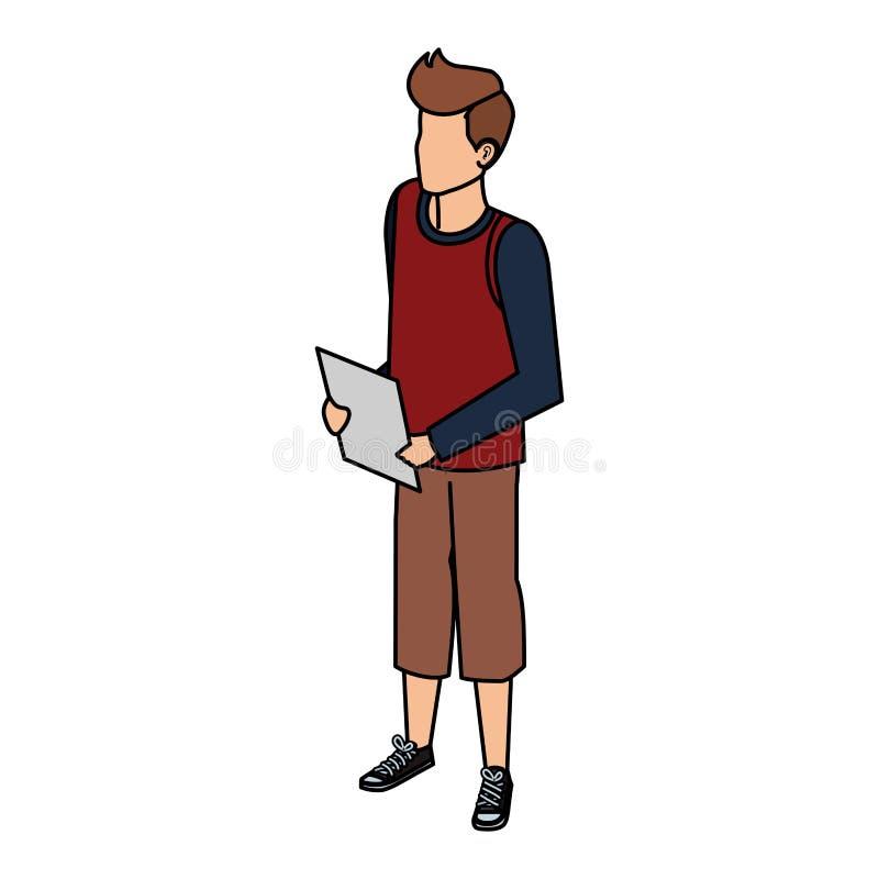 Młody i przypadkowy mężczyzna z dokumentami royalty ilustracja