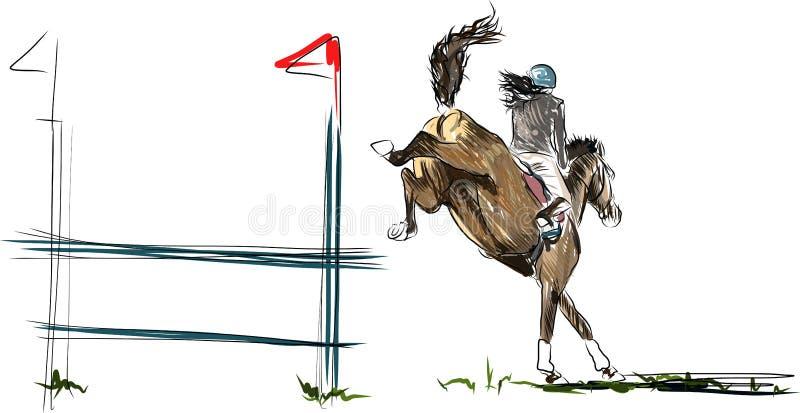 Młody jeźdza spełniania skok na podpalanym koniu nad przeszkodą na przedstawienia doskakiwaniu ilustracji