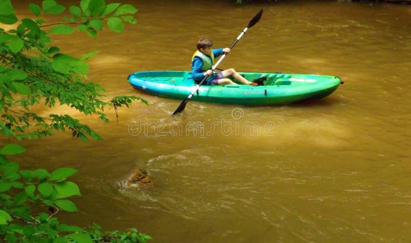 Młody Kayaker przy Pigg rzeką Wędruje obraz royalty free