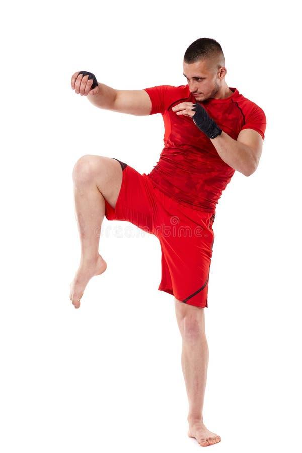 Młody kickbox wojownik na bielu obrazy stock