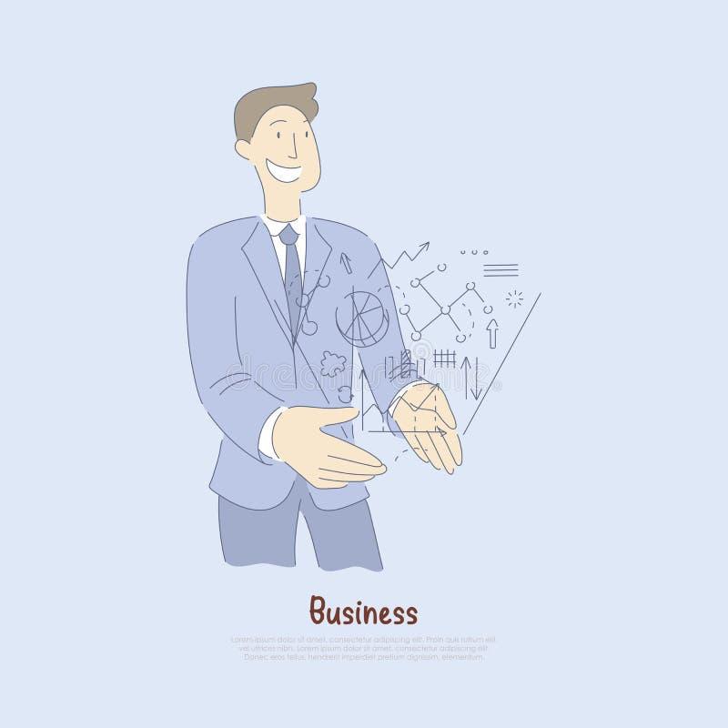 Młody kierownik, analityk trzyma pieniężne statystyki hologram, działalności biznesowej metafora, przedsiębiorczość sztandar royalty ilustracja