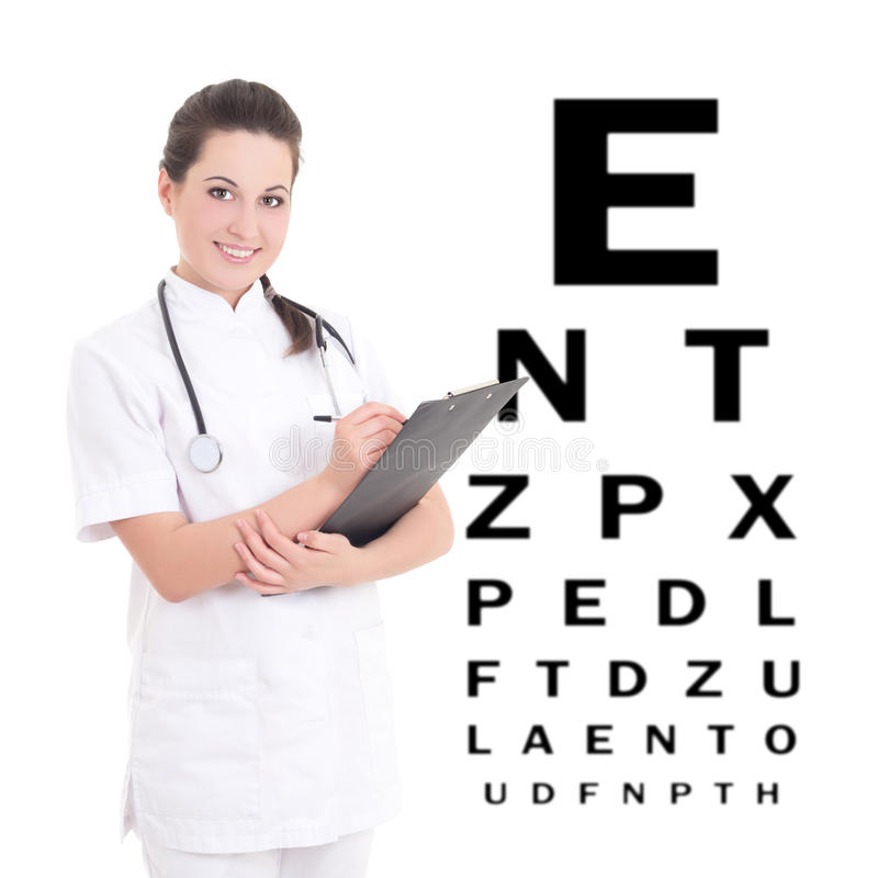 Młody kobiety lekarki oftalmolog odizolowywający na białym tle obraz royalty free