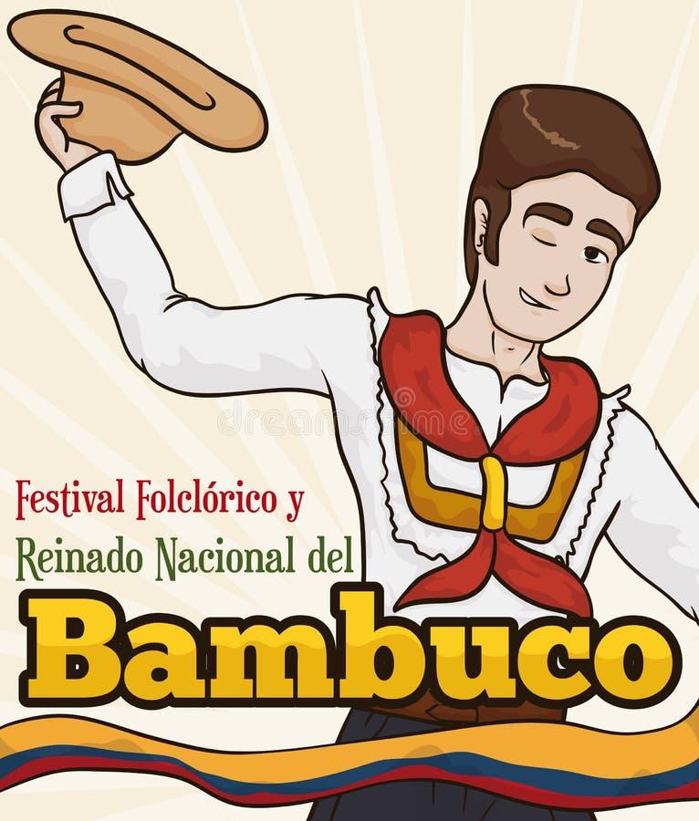 Młody Kolumbijski mężczyzna z Kapeluszowym Dancingowym Bambuco w Ludoznawczym festiwalu, Wektorowa ilustracja ilustracji