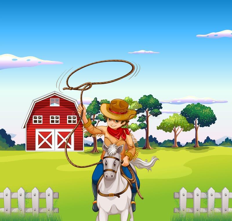 Młody kowboj w rancho ilustracja wektor