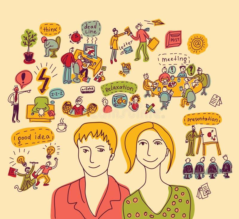 Młody kreatywnie biznesowy para kolor royalty ilustracja