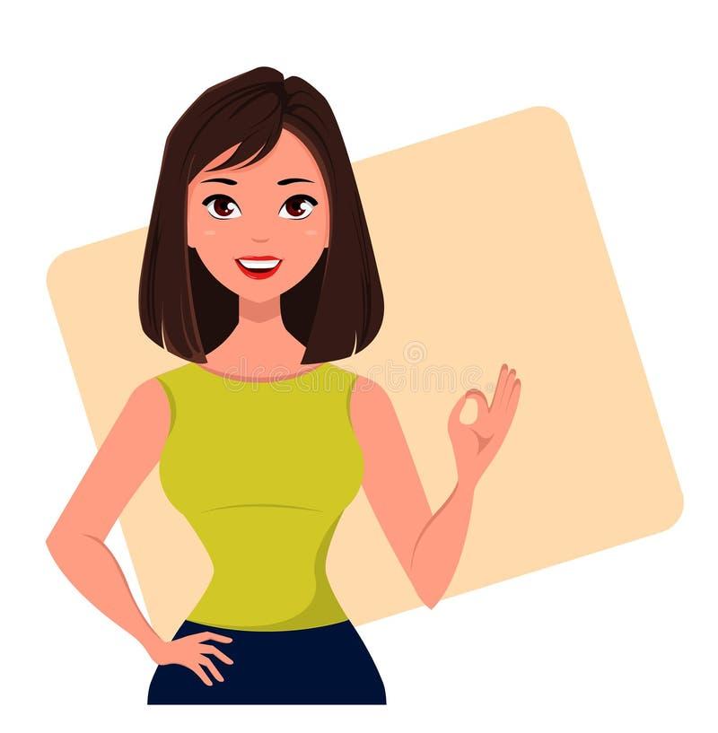 Młody kreskówka bizneswoman pokazuje OK gest, jest ubranym bezpłatnego suknia styl Piękna brunetki dziewczyna Modna nowożytna dam ilustracji