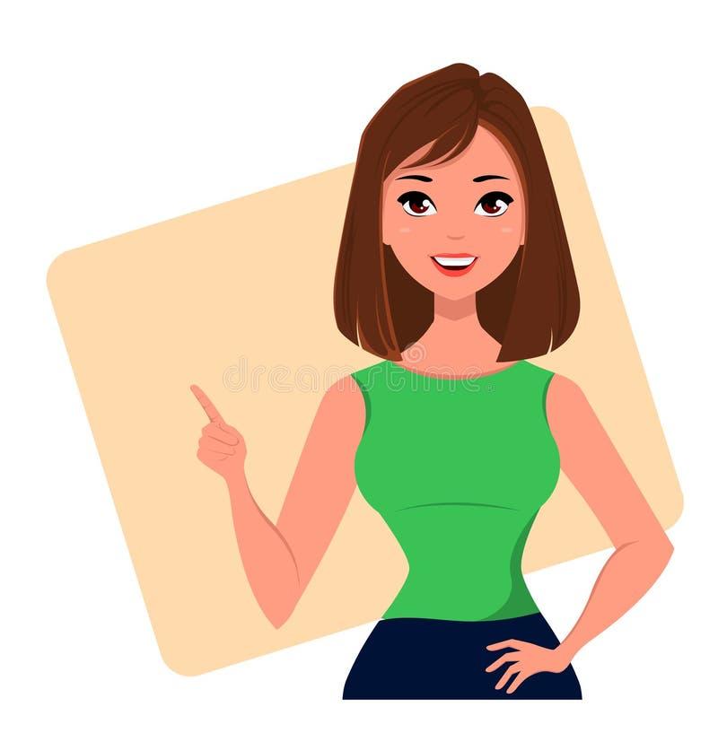 Młody kreskówka bizneswoman robi gestowi wskazuje coś Piękna dziewczyna przedstawia plan biznesowego, rozpoczęcie zbliżenie ilustracja wektor