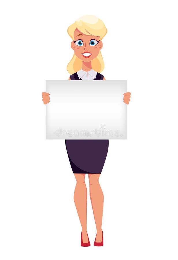 Młody kreskówka bizneswomanu mienia pustego miejsca znak, robi prezentaci ilustracja wektor