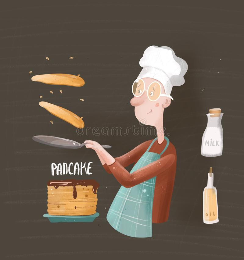 Młody kucharz smaży bliny i rzuca one w powietrzu royalty ilustracja