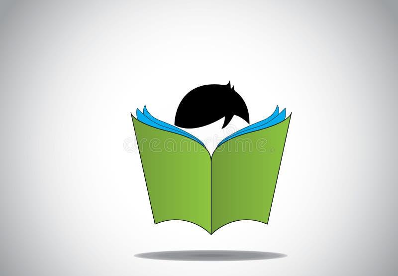 Młody mądrze chłopiec dzieciak czyta 3d zieleni otwartego książkowego edukaci pojęcie ilustracja wektor