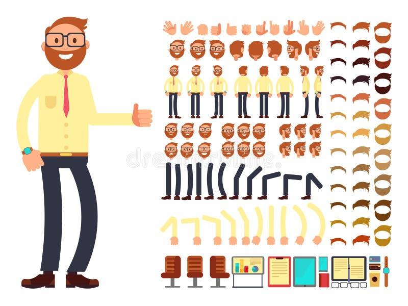 Młody męski biznesmena charakter z gestami ustawia dla animaci Wektorowy tworzenie konstruktor ilustracji