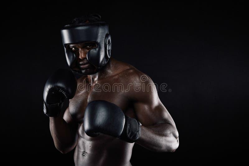 Młody męski bokser w walczącej postawie fotografia stock