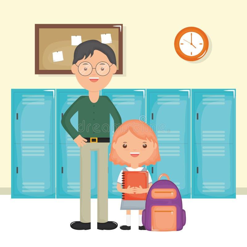 Młody męski nauczyciel z studencką dziewczyną w szkole ilustracji