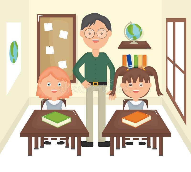 Młody męski nauczyciel z uczniami w sali lekcyjnej ilustracji