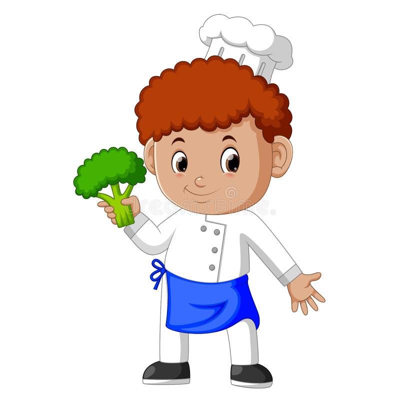 Młody męski szef kuchni trzyma świeżych brokuły ilustracja wektor