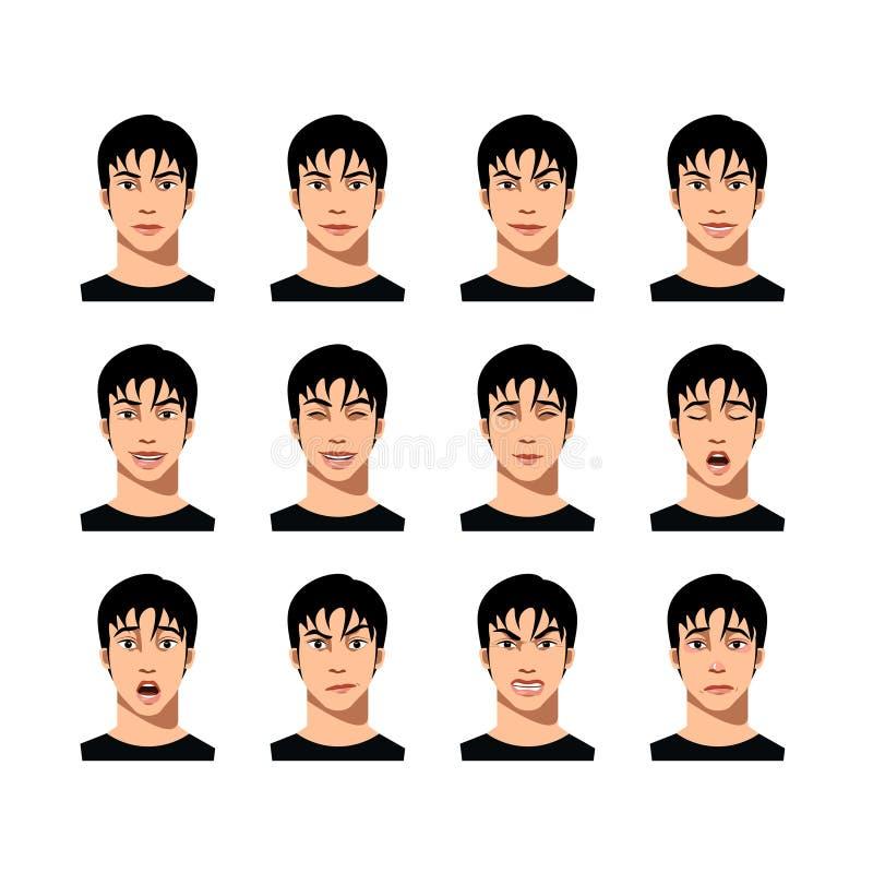 Młody męski twarzy wyrażenia set royalty ilustracja