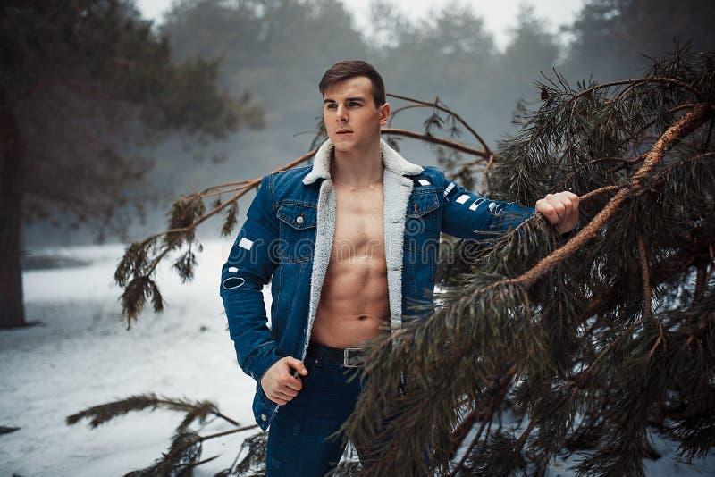 Młody mięśniowy mężczyzna w rozpinającej kurtce z ogołacającymi pierś stojakami obok sosny w zima lesie obrazy royalty free