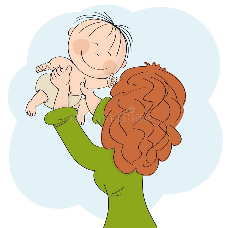 Młody mum bawić się z jej małym dzieckiem, trzymający on lub ona w ona ręki wysoki w powietrzu Dziecko jest uśmiechnięty szczęśli ilustracja wektor