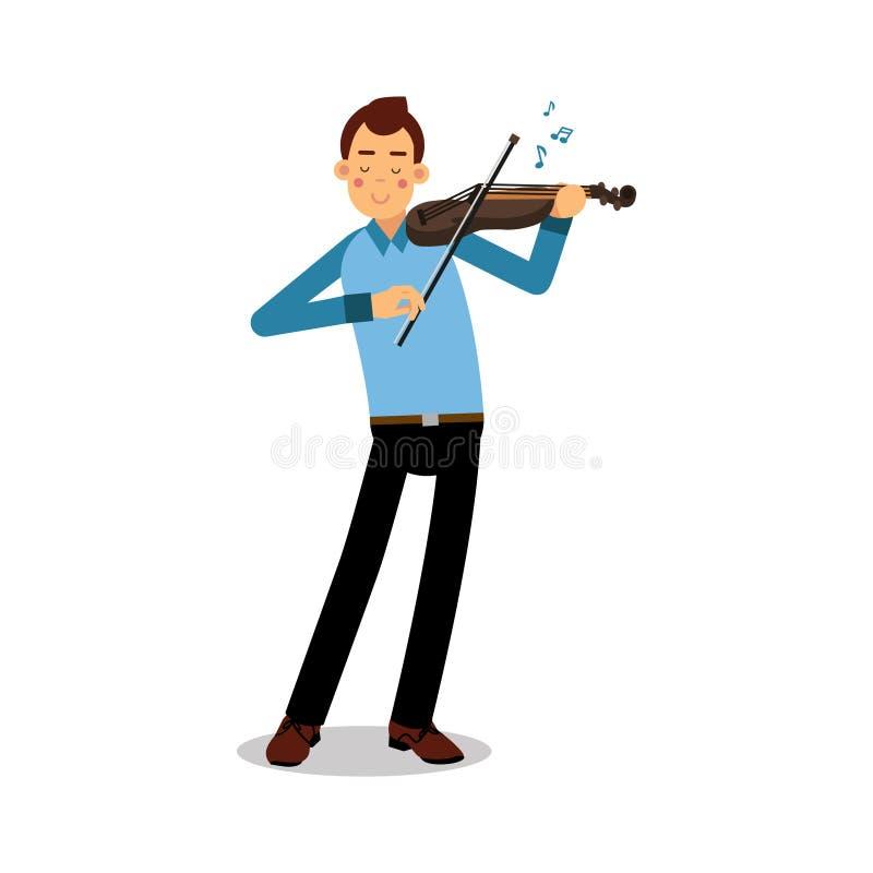 Młody muzyk bawić się skrzypcowego postać z kreskówki, skrzypaczka bawić się muzyka klasyczna wektoru ilustrację ilustracji