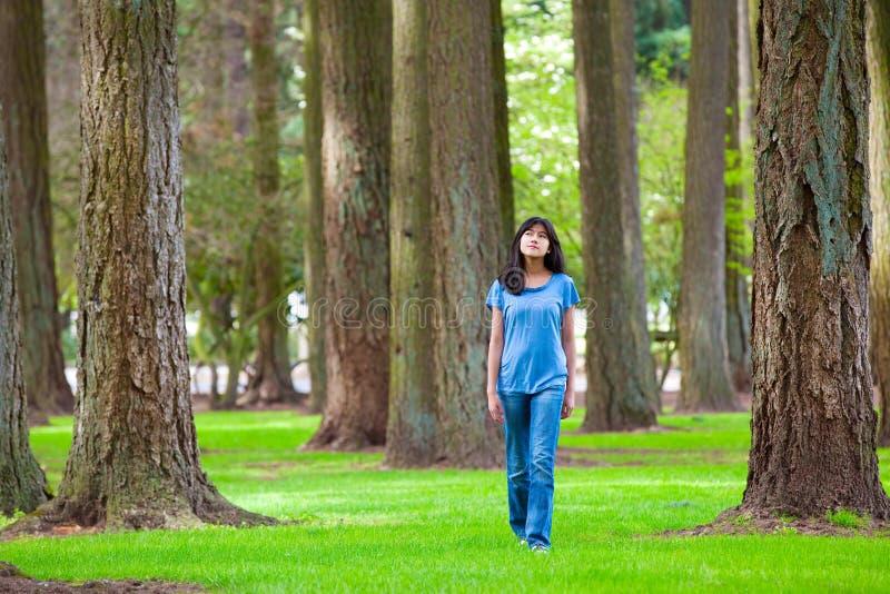 Młody nastoletni biracial dziewczyny odprowadzenie pod wysokimi drzewami fotografia stock