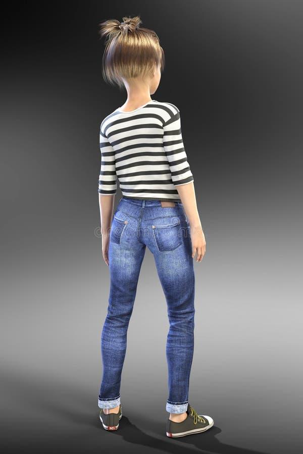 Młody Nastoletni CGI dziecka charakter z ona z powrotem kamera ilustracji