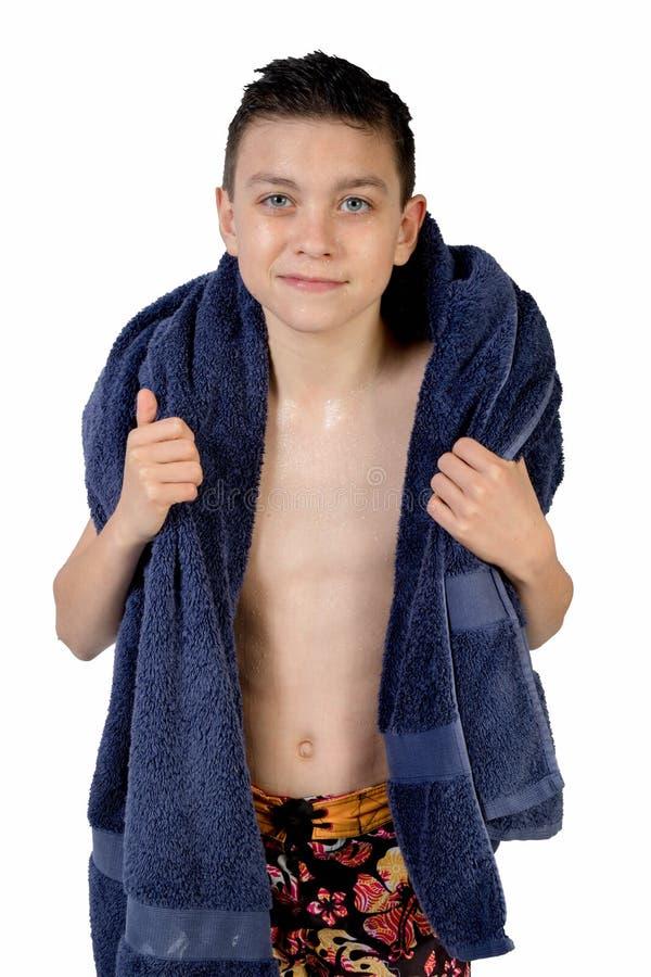 Młody nastoletni chłopak odizolowywający na bielu obraz stock
