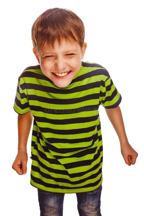 Młody nastoletni chłopak w zielonej koszulki zabawie beztroskiej fotografia royalty free