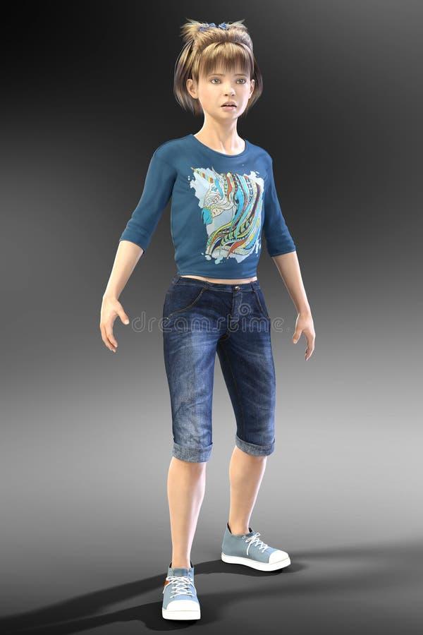 Młody Nastoletni dziecka CGI charakter patrzeje w odległość ilustracji