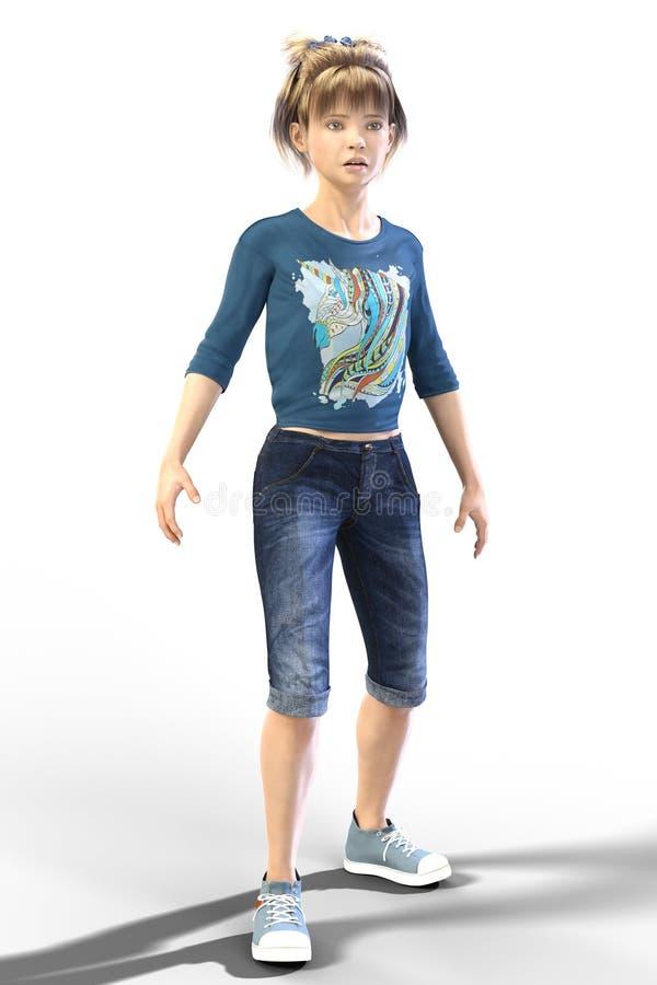 Młody Nastoletni dziecka CGI charakter patrzeje w odległość odizolowywa royalty ilustracja
