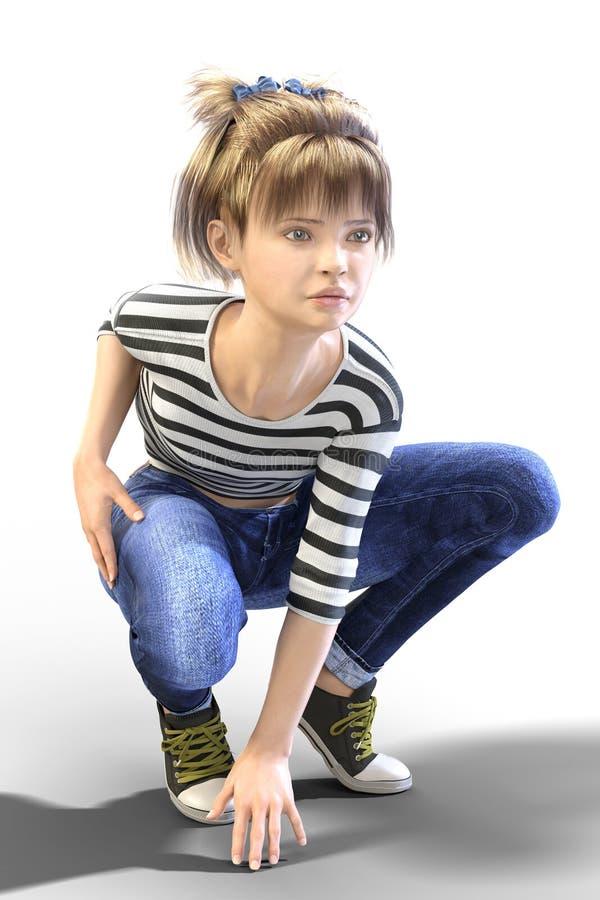 Młody Nastoletni dziecka CGI charakter w akci pozie przygotowywającej biegać isola royalty ilustracja